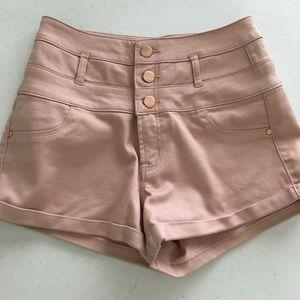 Charlotte Russe Blush Pink High Waisted Shorts